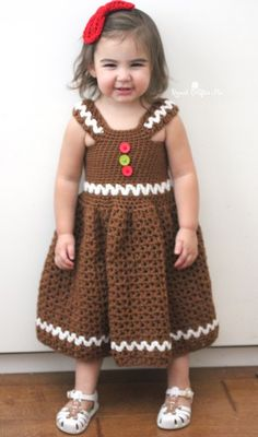 Crochet Gingerbread Girl Dress - Repeat Crafter Me