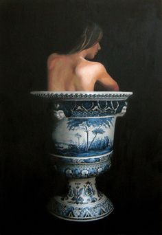 Jan Wisse, 2013, Vase S6 Oil on marouflé, 122x84cm from the 2nd 'Vase-series'.