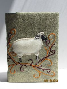 OOAK Felt Embroidered Photo Album Cover Sheep by SienasMaineDesign, $18.00