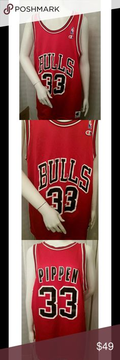 Vintage Scottie pippen bulls champion jersey for sale is a vintage, 100% original, old school, red Scottie Pippen Chicago Bulls jersey.   I am the original owner, and I'm starting to sell my sports memorabilia collection.   Brand: Champion  Sz: 48   Please view the measurements below  From under one arm to under the other measures approximately 23 inches, from the top of the shoulder to the bottom of the Jersey measures approximately 33 inches   If you have any questions or would like…