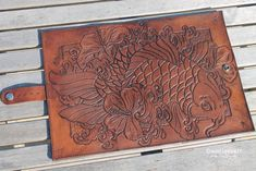 Tooled Leather Wall Covering | Leather Tooled Book Cover with Koi and Hibiscus!