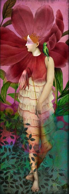 Red Gardens by Catrin Welz-Stein in Portraits on .the art of catrin welz-stein Illustrator, Image Nature, Art Watercolor, Images Vintage, Inspiration Art, Pop Surrealism, Wassily Kandinsky, Surreal Art, Oeuvre D'art