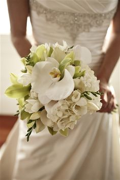 green and white orchids, hydrangea bridal bouquet -