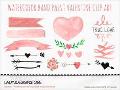 Watercolor hand painted Clip Art True Love design elements - 16 Hand drawn Watercolor Clip Art, logo design, wedding invitation