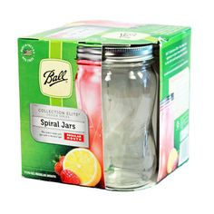 NEW Ball®️️ Collection Elite®️️ Regular Mouth Pint 16 oz.Spiral Mason Jars with lids and bands, 4 count