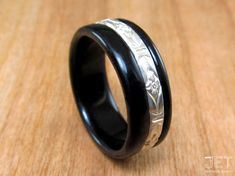 Ebony Bentwood Ring with 2.8mm Sterling by JETbentwoodjewelry
