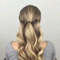 56 Updo Hairstyle Ideas & Tutorials for Wedding - Frisuren - Hochsteckfrisur Easy Hairstyles For Long Hair, Cute Hairstyles, Long Hair Easy Updo, Easy Elegant Hairstyles, Buns For Long Hair, Long Hair Updos, Easy Homecoming Hairstyles, Loose Braid Hairstyles, Running Late Hairstyles