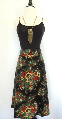 Vintage 70s Floral Skirt High Waist Velveteen Maxi. $26.00, via Etsy.