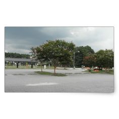 Cloudy Day In The Park Rectangular Sticker