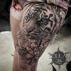 Girls Tiger tattoo by - Soular Tattoo - Christchurch - NZ - tattoos - Tattoo Designs For Women Tiger Tattoo Thigh, Tigh Tattoo, Tiger Tattoo Sleeve, Big Cat Tattoo, Sleeve Tattoos, Hip Tattoos Women, Trendy Tattoos, Leg Tattoos, Black Tattoos