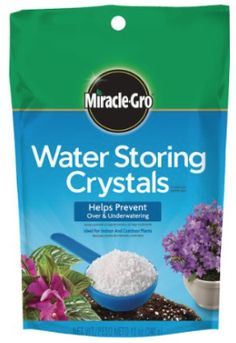 While you are mixing up that soil add these water storing crystals to the mix. These little things  are a life saver! They absorb water and turn into clear jello looking blobs and hold the water in and slowly release it as needed.  4 of my flower boxes are on our 2nd story and it is a pain to hang out the window and water them every day, these allow me to skip that chore more often.