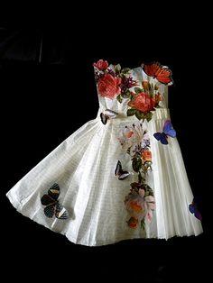butterflies, flowers and script dress