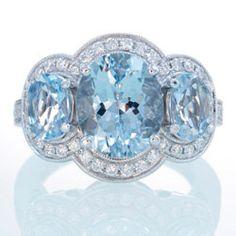 March: 18K White Gold Three Stone Diamond Halo Something Blue Aquamarine Engagement Ring