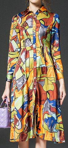 Colorful Print Silk & Cotton Shirt Dress