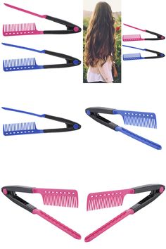[Visit to Buy] 1 Piece 2 in 1 Straight Hair Comb Hair Styling Tool Make Up Professional Hair Combs Hairbrush Hairdressing Curl Hair Accessories #Advertisement