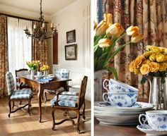 The Enchanted Home Queen Anne, Royal Copenhagen blue and white small dining room