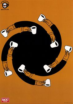 Japanese Advertisement: UCC Coffee, by Shigeo Fukuda. Poster Cars, Poster Sport, Poster Retro, Gig Poster, Movie Posters, Coffee Illustration, Graphic Design Illustration, Graphic Art, Illustration Art