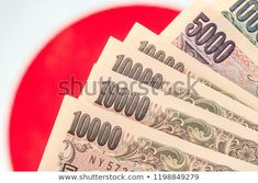 Japanese currency notes , Japanese Yen on japanese flag. Japanese Yen, Photo Editing, Pay Taxes, Royalty Free Stock Photos, Flag, Notes, Illustration, Healthy, Photo Manipulation