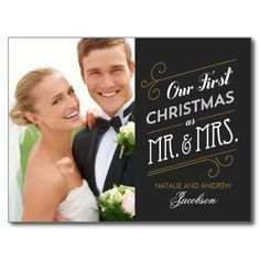 First Married Christmas Photo Card Postcard Christmas card, personalise with your own photo and text. Thank you wedding, engagement card.