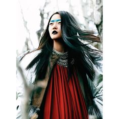 Hyoni Kang by Chris Nicholls for Flare December 2011 ❤ liked on Polyvore