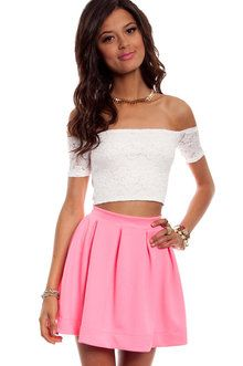 Zig Zag Lace Crop Top in Ivory