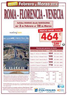 Roma-Florencia-Venecia  salidas 06/02 al 28/03 desde Barcelona ( 7d/6n) p.f. 549€ ultimo minuto - http://zocotours.com/roma-florencia-venecia-salidas-0602-al-2803-desde-barcelona-7d6n-p-f-549e-ultimo-minuto-2/