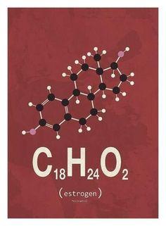 Art Print: Molecule Estrogene by TypeLike : 30x22in
