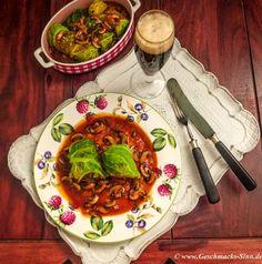 Wirsing-Quinoa-Rouladen mit Bier-Champignon-Sauce http://www.geschmacks-sinn.de/?p=2494