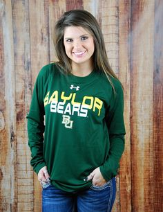Stay active while showing you love the Baylor Bears in this new Under Armour active top! What a great way to show your school spirit! Go BU Bears!