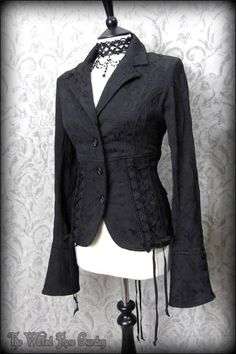Elegant Gothic Black Brocade Fitted Corset Riding Jacket M 10 Victorian Vamp | THE WILTED ROSE GARDEN