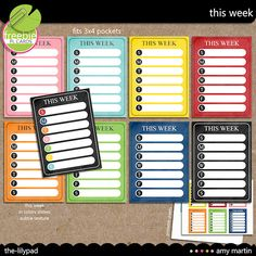 Week at a glance journal cards
