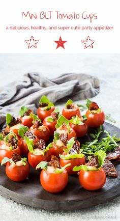 These Mini BLT Cups are as cute as they are delicious! Cherry tomatoes are stuffed with arugula and a little chipotle mayo then topped with a piece of crunchy bacon. They're a healthy gluten-free + paleo + appetizer recipe that everyone will love! Bite Size Appetizers, Appetizers For Party, Appetizer Recipes, Easy Healthy Appetizers, Shower Appetizers, Party Snacks, Healthy Recipes, Mini Blt, Thanksgiving Appetizers