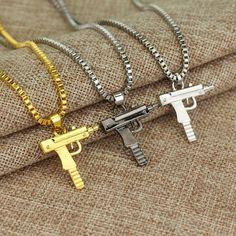 Hiphop/Rock Gold Plated Pistol Uzi Gun 60cm Chain Pendants & Necklaces Men/Women HipHop Maxi Necklace Men Jewelry