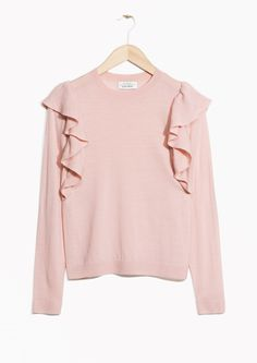 & Other Stories image 1 of Frilled Merino Wool Knit in Pink