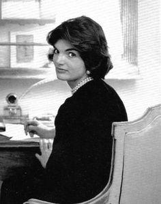 Jackie Kennedy - Black + Classic Pearls.