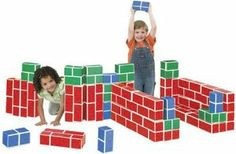 PlayBrix Cardboard Building Bricks-Set of 54 Assorted by Educational Insights. $51.60. Includes 54 large building blocks. For Ages 3+. Each set come with bricks in sizes. Safe, strong and durable. Cardboard PlayBrix look like real bricks. From the Manufacturer                Put these cardboard building blocks in the hands of little builders, and watch castles, skyscrapers, and forts come to life. Blocks are timeless favorite, but PlayBrix have something extra�they...