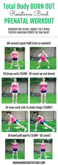 Pregnancy Workout: Second Trimester Resistance Band Circuit - Mama Knows Nutrition - Pregnancy Workout Total Body BURN OUT Exercise During Pregnancy, Pregnancy Nutrition, Trimesters Of Pregnancy, Pregnancy Tips, Pregnancy Fitness, First Trimester Pregnancy Workout, Early Pregnancy, Fit Pregnancy Workouts, Post Pregnancy Diet