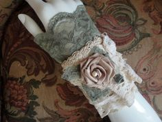 Fabric Lace Cuff Bracelet Handmade One of a by RosesForClementine, $32.00