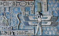 [EGYPT 29550] 'Good wind from the South at Dendera.' Representing the south wind, a ram-headed creature with double outstretched wings, holding a little sail and the 'ankh' sign of life, can be found on the astronomical ceiling in the outer hypostyle hall of the Hathor Temple at Dendera. The ceiling consists of seven separate strips but here we are looking at the southern end of the upper register of the SECOND STRIP EAST from centre. A caption near the head of...