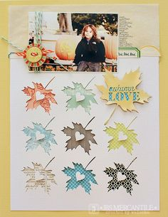 by waleska using September Mercantile Kit - cutting file freebie - gorgeous color. Love the leaf cutouts. Scrapbook Sketches, Scrapbook Page Layouts, Scrapbook Paper Crafts, Scrapbook Cards, Scrapbooking Freebies, Leaf Cutout, Scrapbook Embellishments, Layout Inspiration, Minis