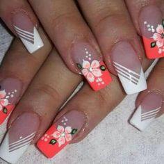 Make an original manicure for Valentine's Day - My Nails Beautiful Nail Designs, Cute Nail Designs, Acrylic Nail Designs, French Nails, Spring Nails, Summer Nails, Flower Nail Art, Pretty Nail Art, Nail Designs Spring