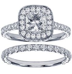 2.42 CT TW Pave Set Diamond Encrusted Princess Cut Engagement Ring Bridal Set in 14k White Gold - Size 12.  List Price: $10,797.00  Savings: $7,198.00 (67%)