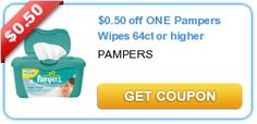 $0.50 off ONE Pampers Wipes 64ct or higher