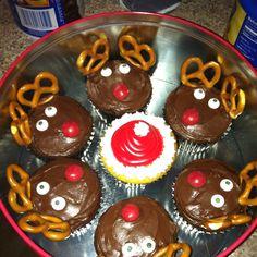 Reindeer and Santa cupcakes