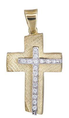 Δίχρωμος Σταυρός Κ14 000026 Symbols, Letters, Jewellery, Crosses, Jewels, Schmuck, Letter, Lettering, Jewelry Shop