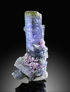 Green-capped Indicolite Tourmaline - Pederneira Mine, Brazil Omg tourmaline the color of tanzanite