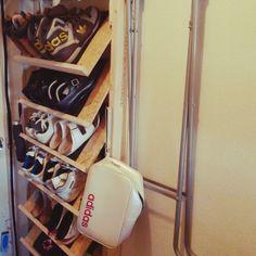 bananajpさんの、2✕4,ディアウォール,斜め,玄関,シューズボックス,靴箱,収納,DIY,棚,のお部屋写真