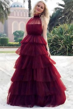 Burgundy Prom Dress, Tulle Prom Dress, Tiered Prom Dress, High Neck Prom Dress, Elegant Prom Dress on Luulla Affordable Prom Dresses, Elegant Prom Dresses, Dresses Short, Cheap Prom Dresses, Prom Party Dresses, Party Gowns, Formal Dresses, Party Wear Long Gowns, Wedding Dresses