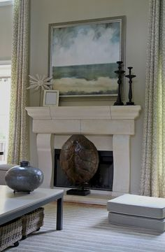 "Fresh and airy. Love the fireplace ""screen."" Lori May Interiors Powder Springs Family Room project"