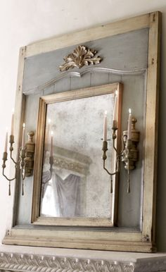 Mirror with Candle Sconces at Horchow. This wooden mirror is flanked by candle sconces that hold standard tapers. x x sconces fireplace Mirror with Candle Sconces Candle Sconces, Wall Sconces, Mirror Candle, Wall Mirrors, Candle Wax, Trumeau Mirror, Mirror Mirror, French Mirror, Broken Mirror